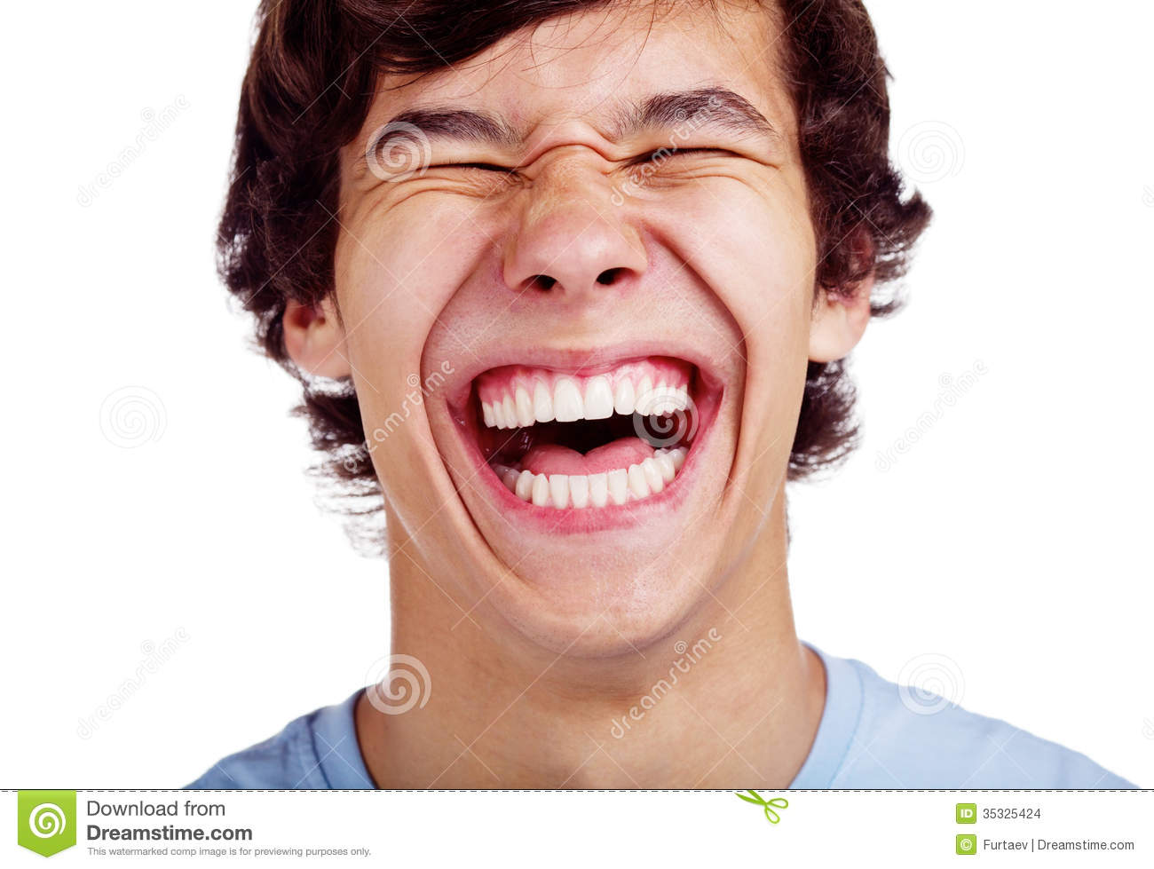 Close up portrait of loudly laughing young man isolated on white ...