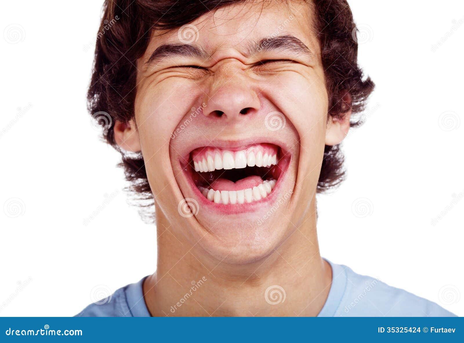 Happy teenage laugh closeup