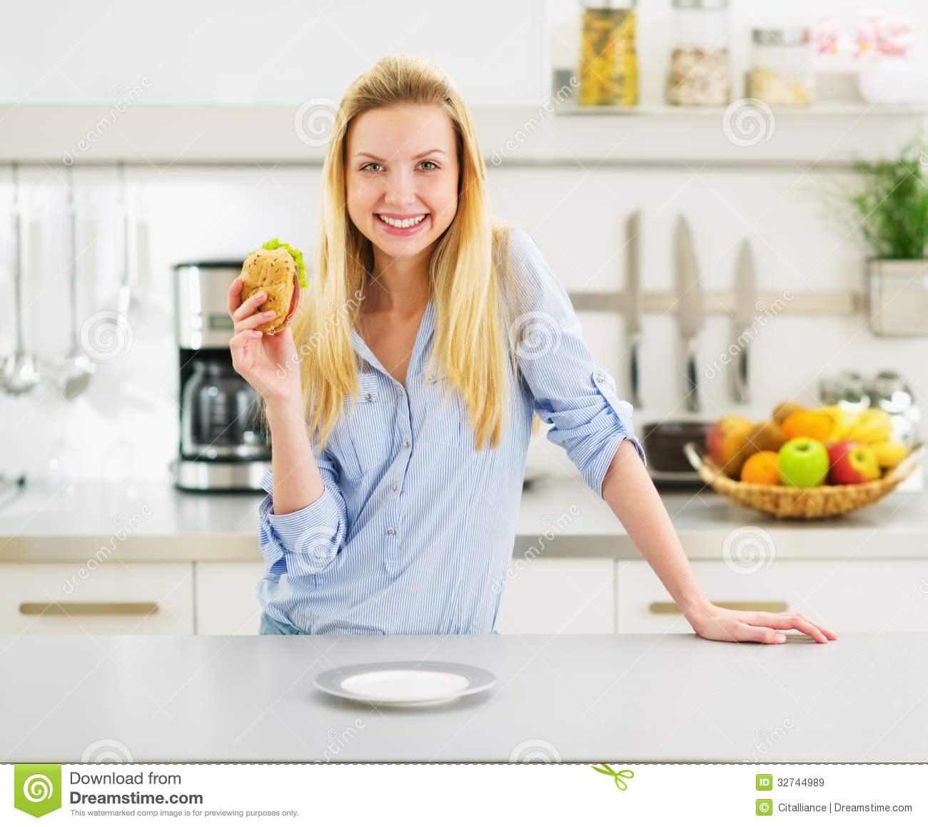 Happy Girl Kitchen: Happy Teenager Girl Holding Burger Royalty Free Stock