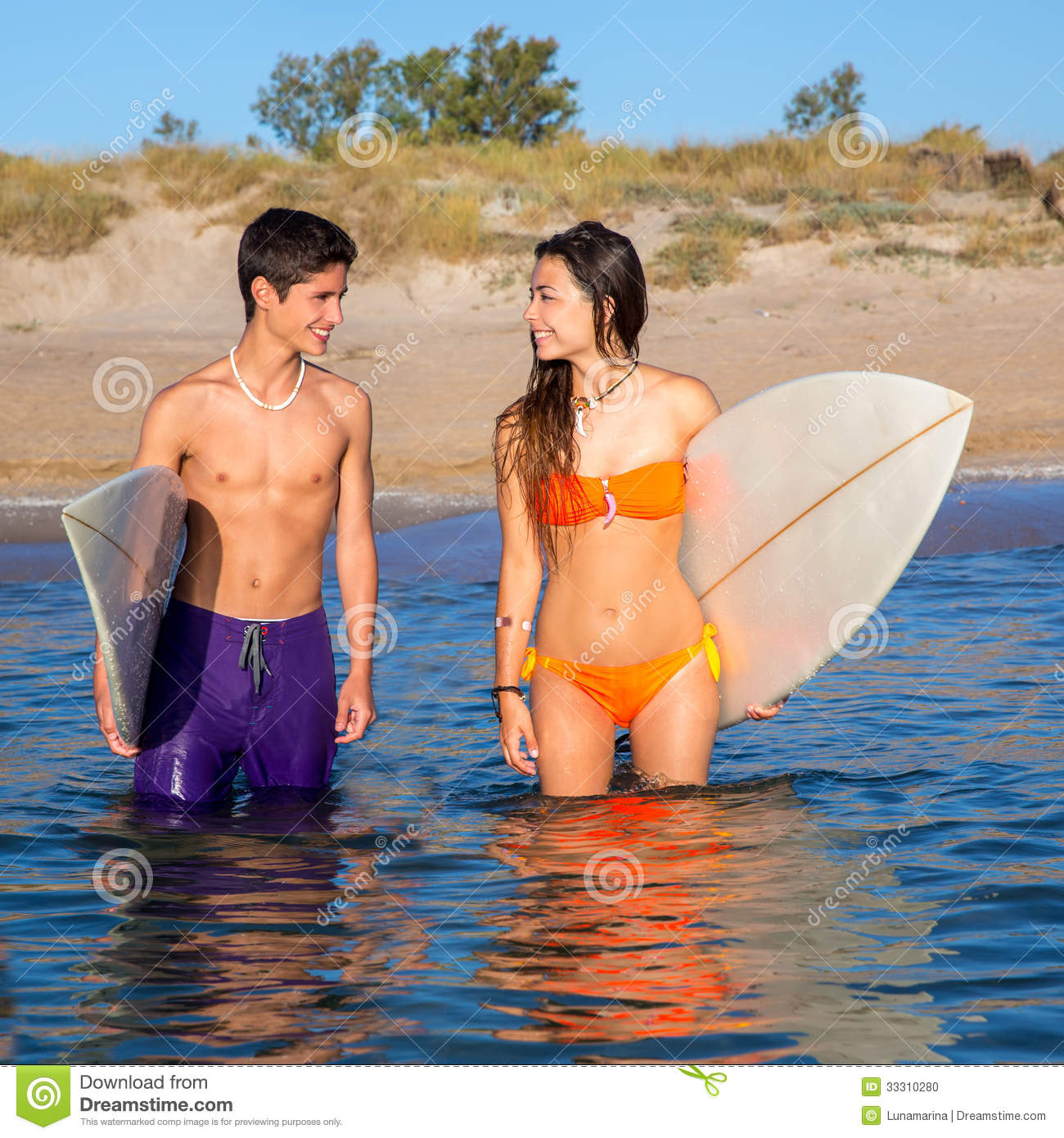 Couple At The Beach Stock Image Image Of Caucasian: Happy Teenager Surfer Couple On The Beach Shore Stock