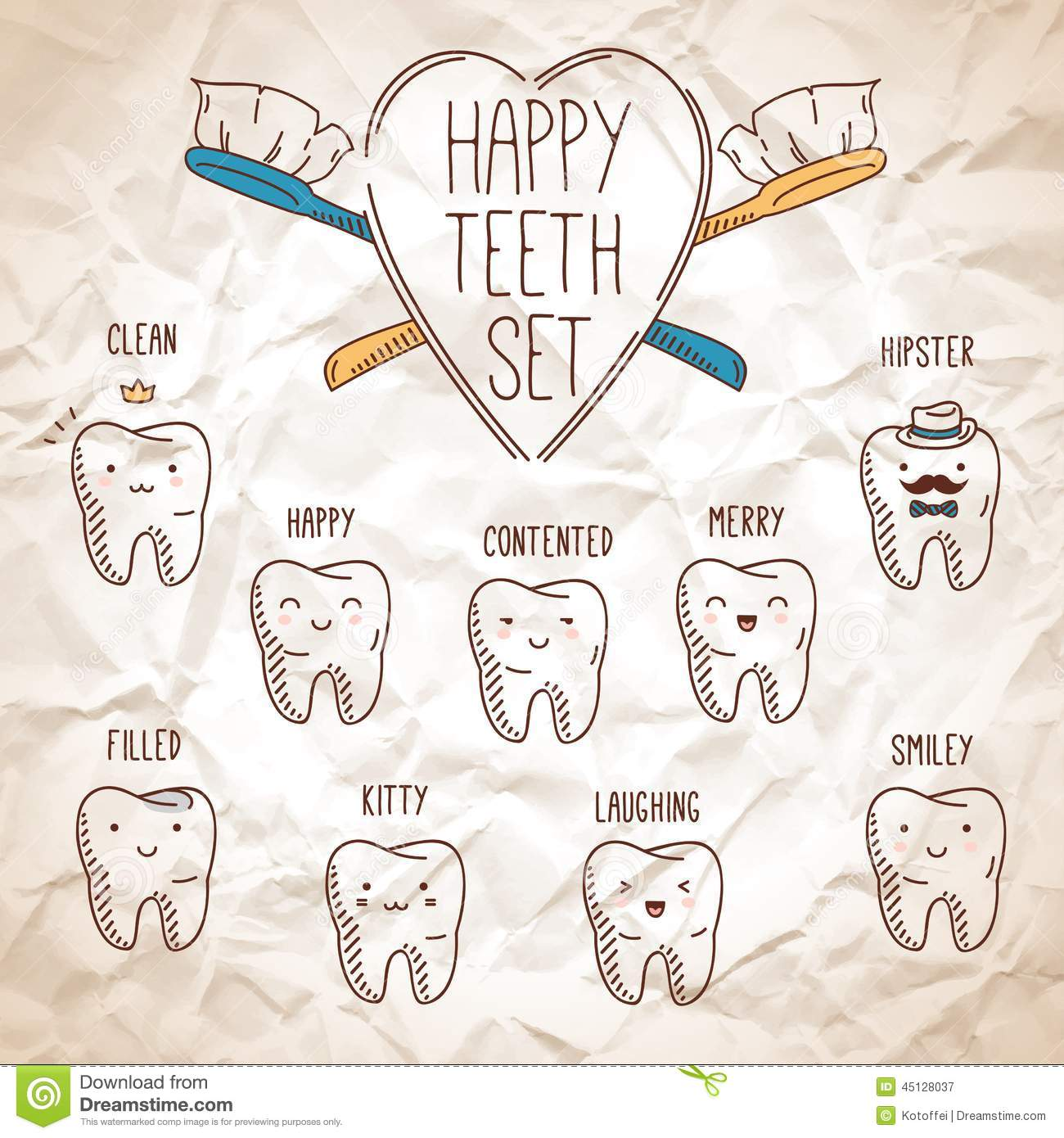 Dentist Quotes Happy Teeth Setdental Collection For Your Design Stock Vector