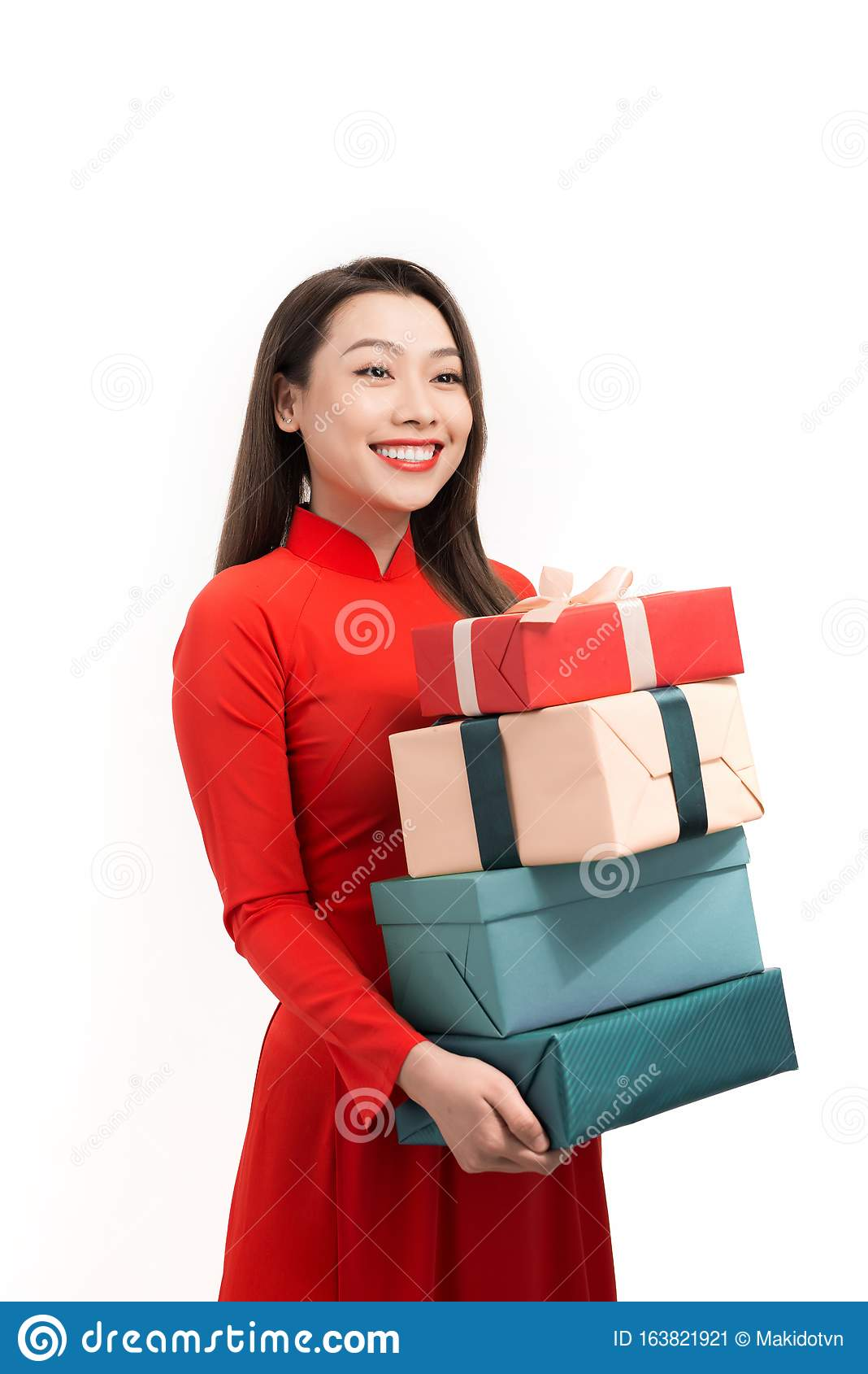 Happy Tet Holiday Chinese New Year. Smile Asian Woman In ...