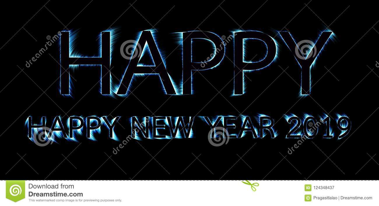 Happy new year 2019 text colorful shade outline beautiful - New year 2019 color ...