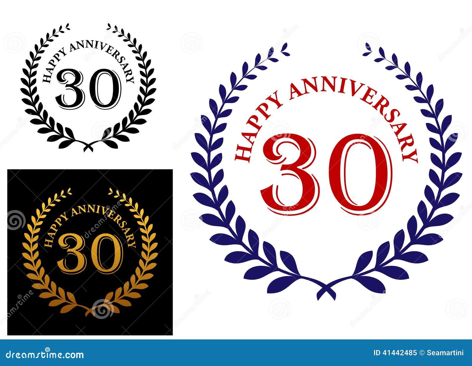 Happy 30th Anniversary Emblem Stock Vector Illustration Of Branch