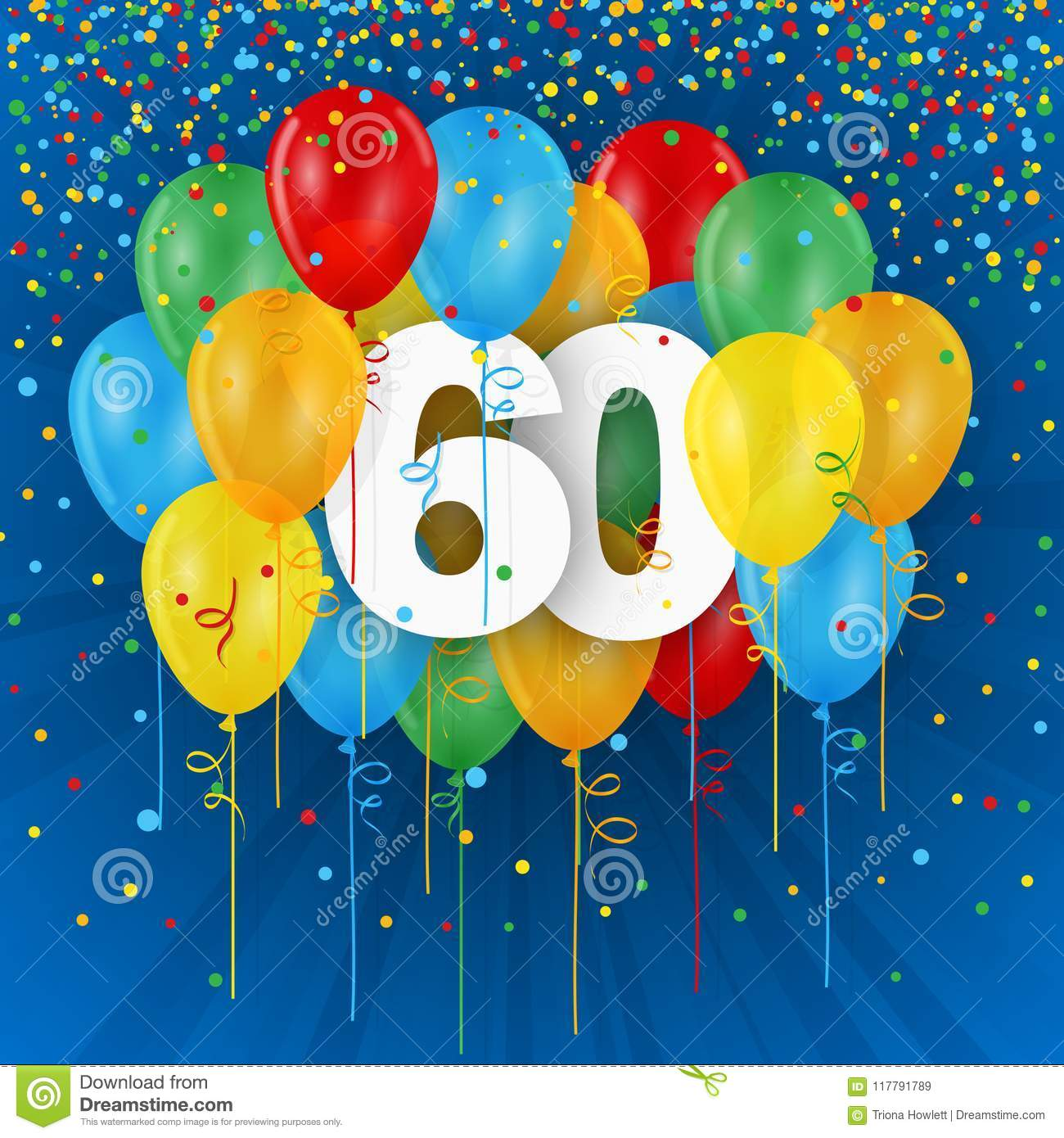 Happy 60th Birthday / Anniversary card with balloons