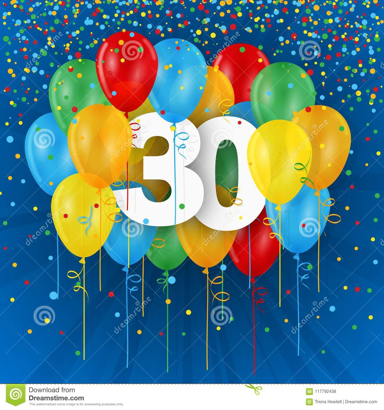 Happy 30th Birthday Anniversary Card With Balloons