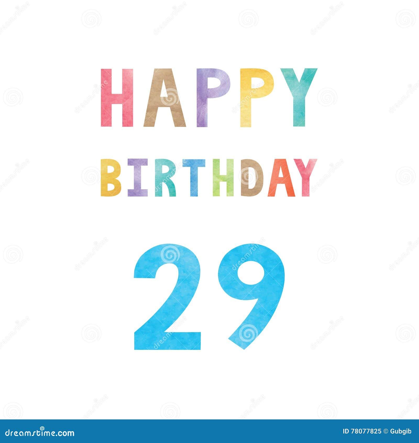 Happy 29th Birthday Anniversary Card Stock Vector