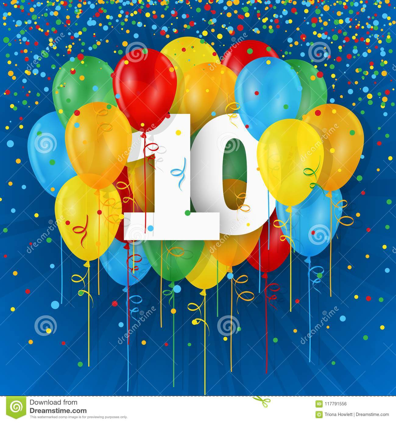 Happy 10th Birthday Anniversary Card With Balloons
