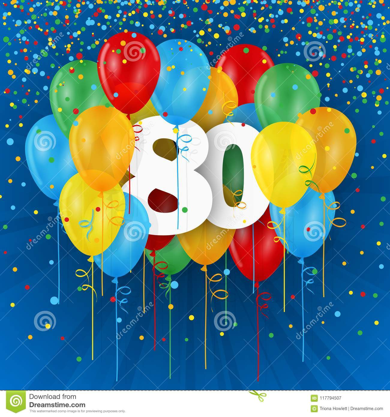Happy 80th Birthday Anniversary Card With Balloons