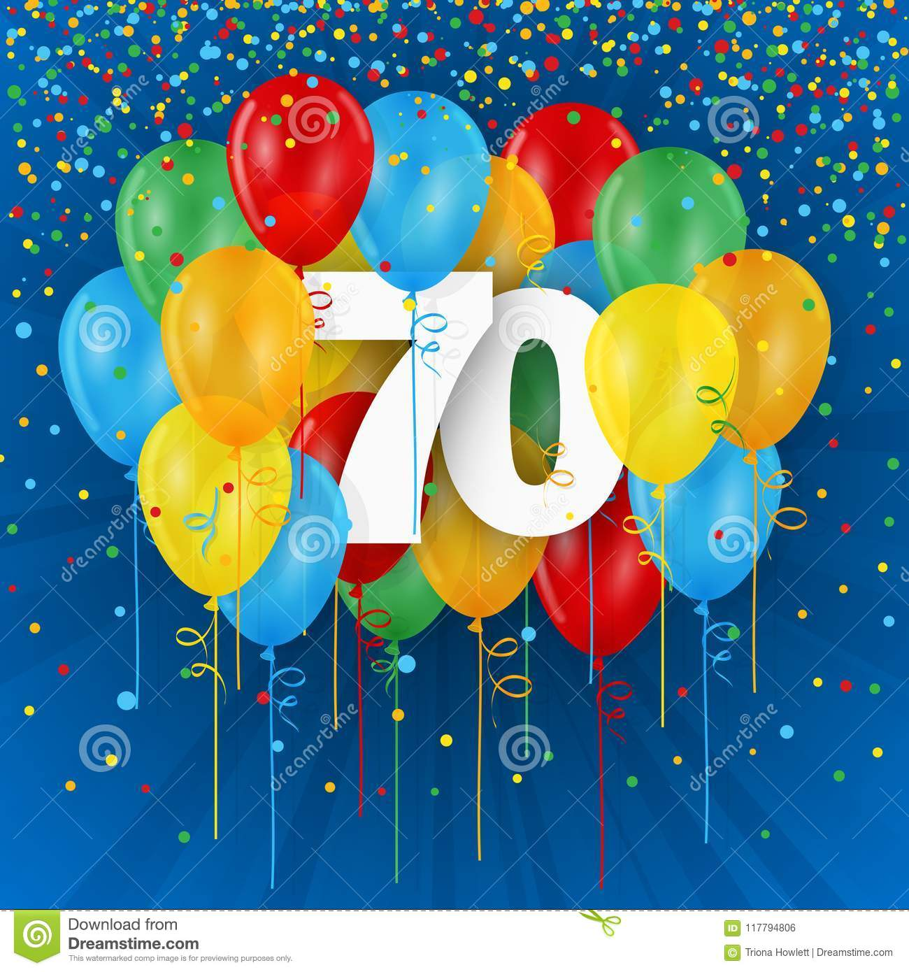 Happy 70th Birthday Anniversary Card With Balloons