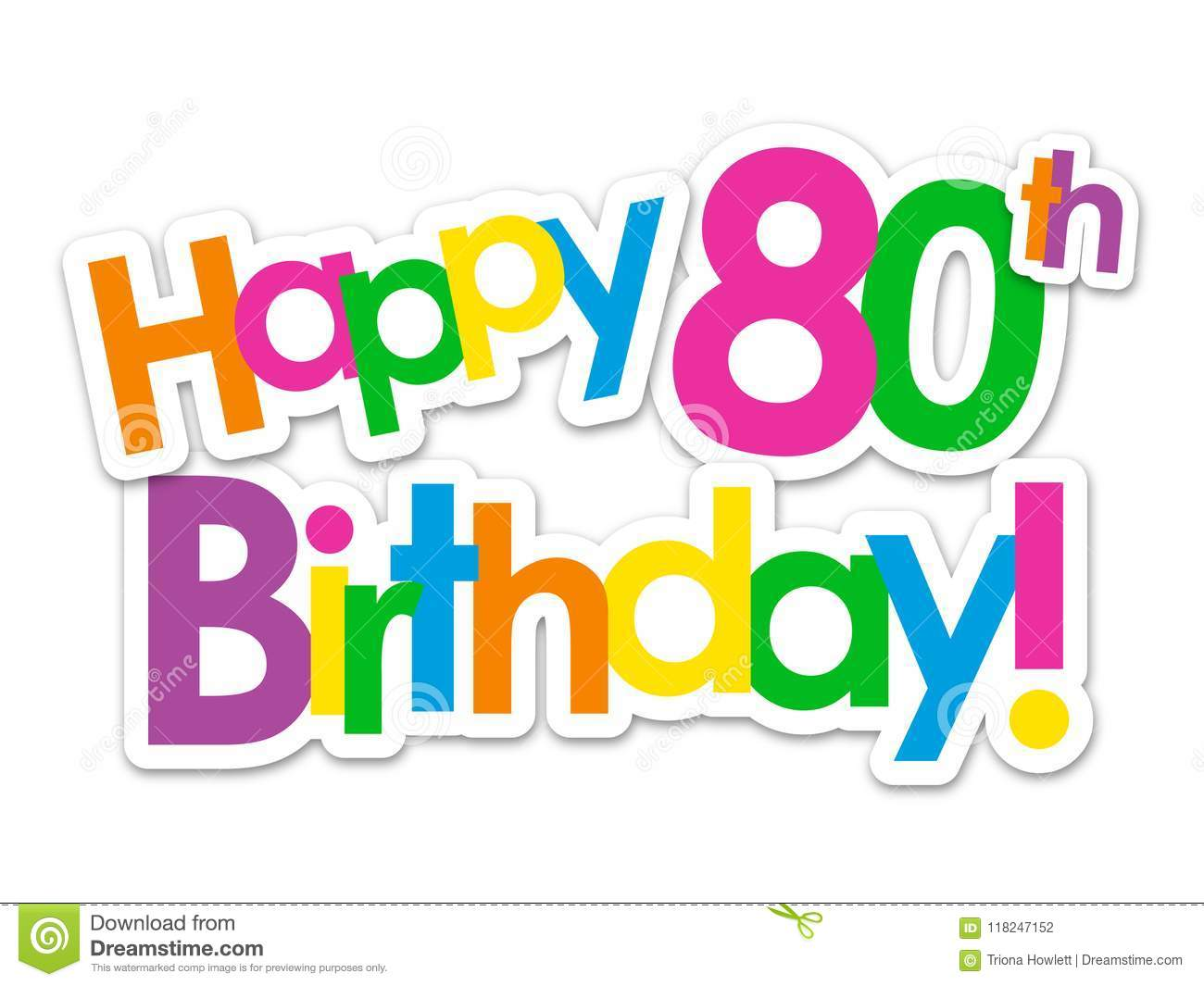 HAPPY 80th BIRTHDAY Bright And Colorful Overlapping Stickers Vector