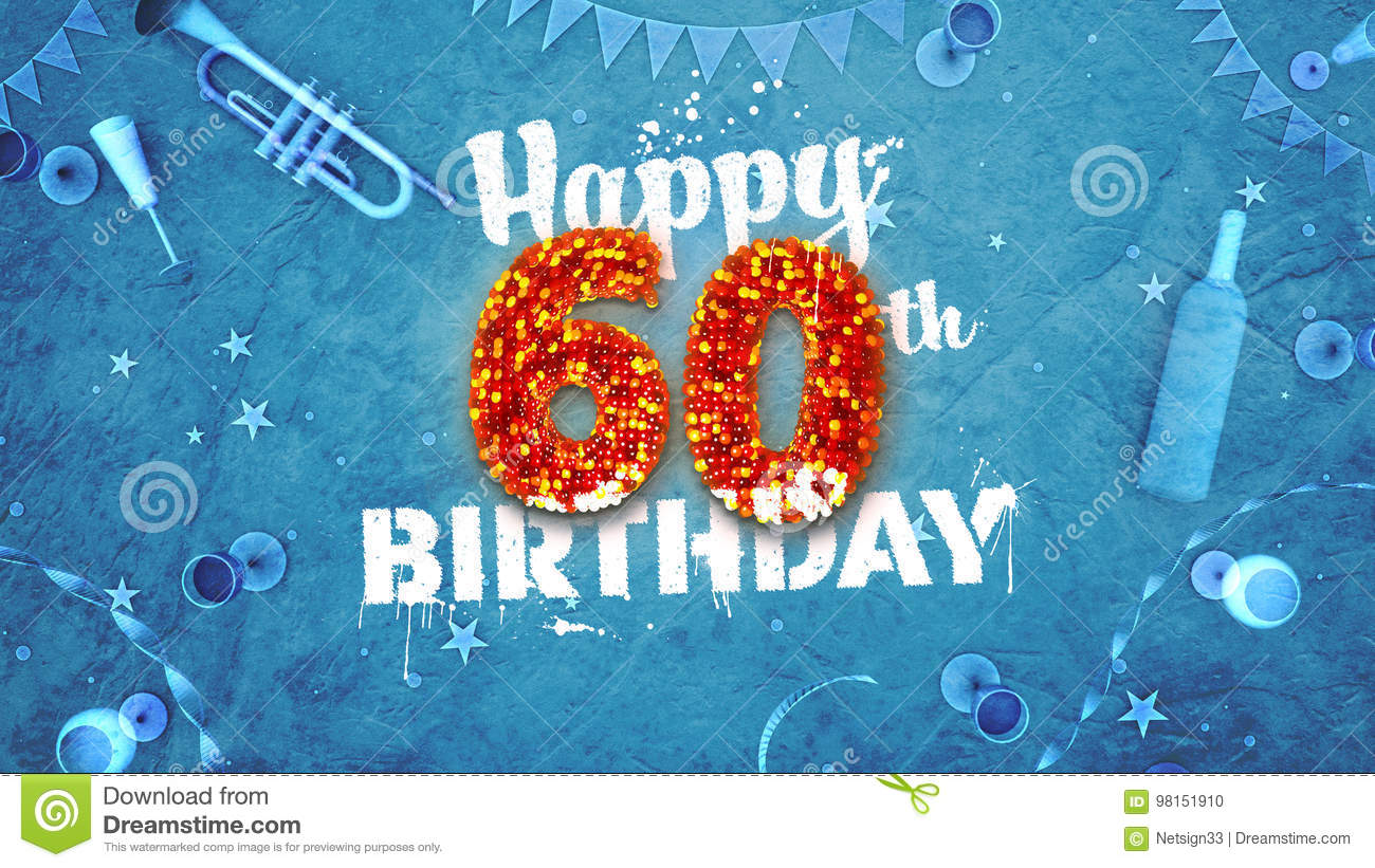 Happy 60th Birthday Card With Beautiful Details Download Preview
