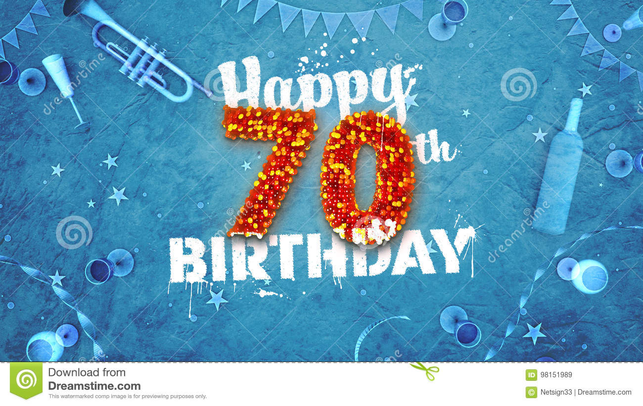 Happy 70th Birthday Card with beautiful details