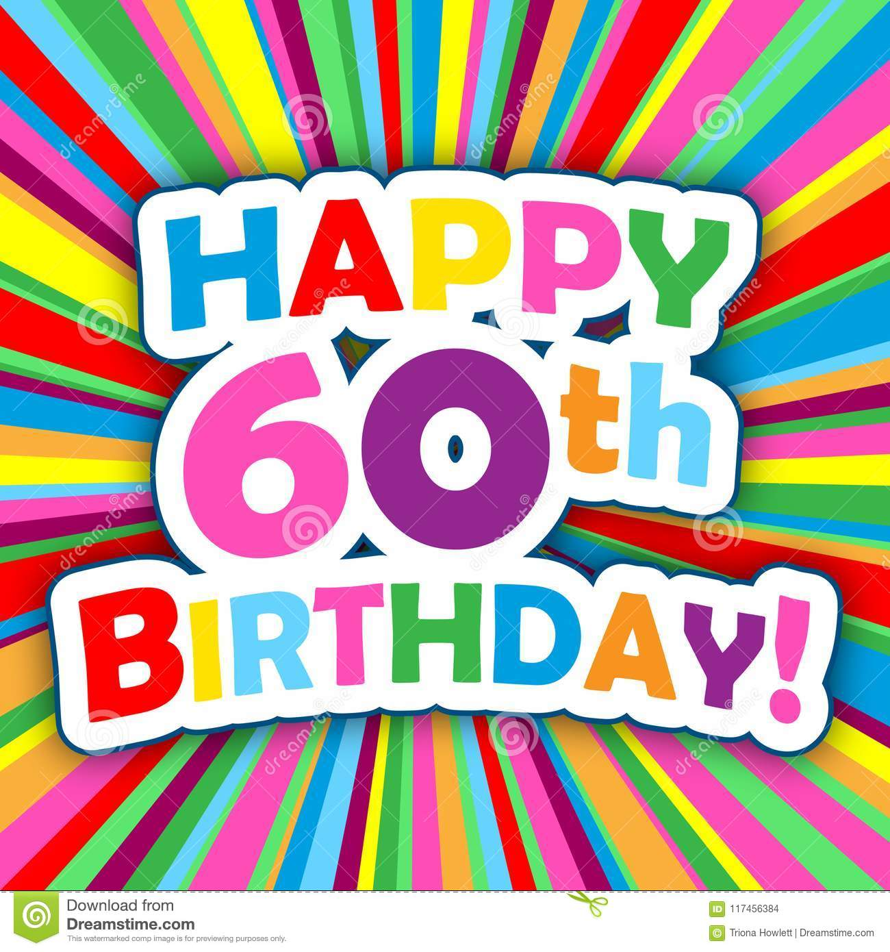 HAPPY 60th BIRTHDAY Card On Bright And Colorful Radial Background Vector Square Format