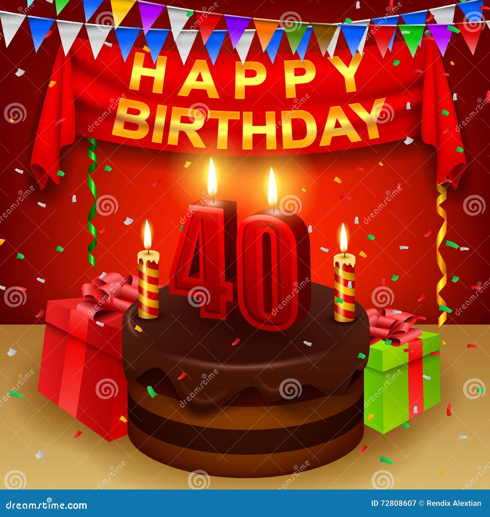 Happy 40th Birthday With Chocolate Cream Cake And Triangular Flag