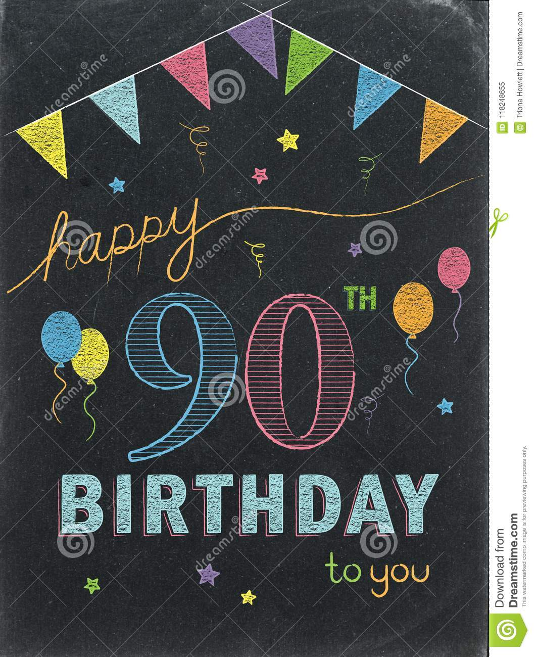 HAPPY 90th BIRTHDAY Color Chalk Lettering Card