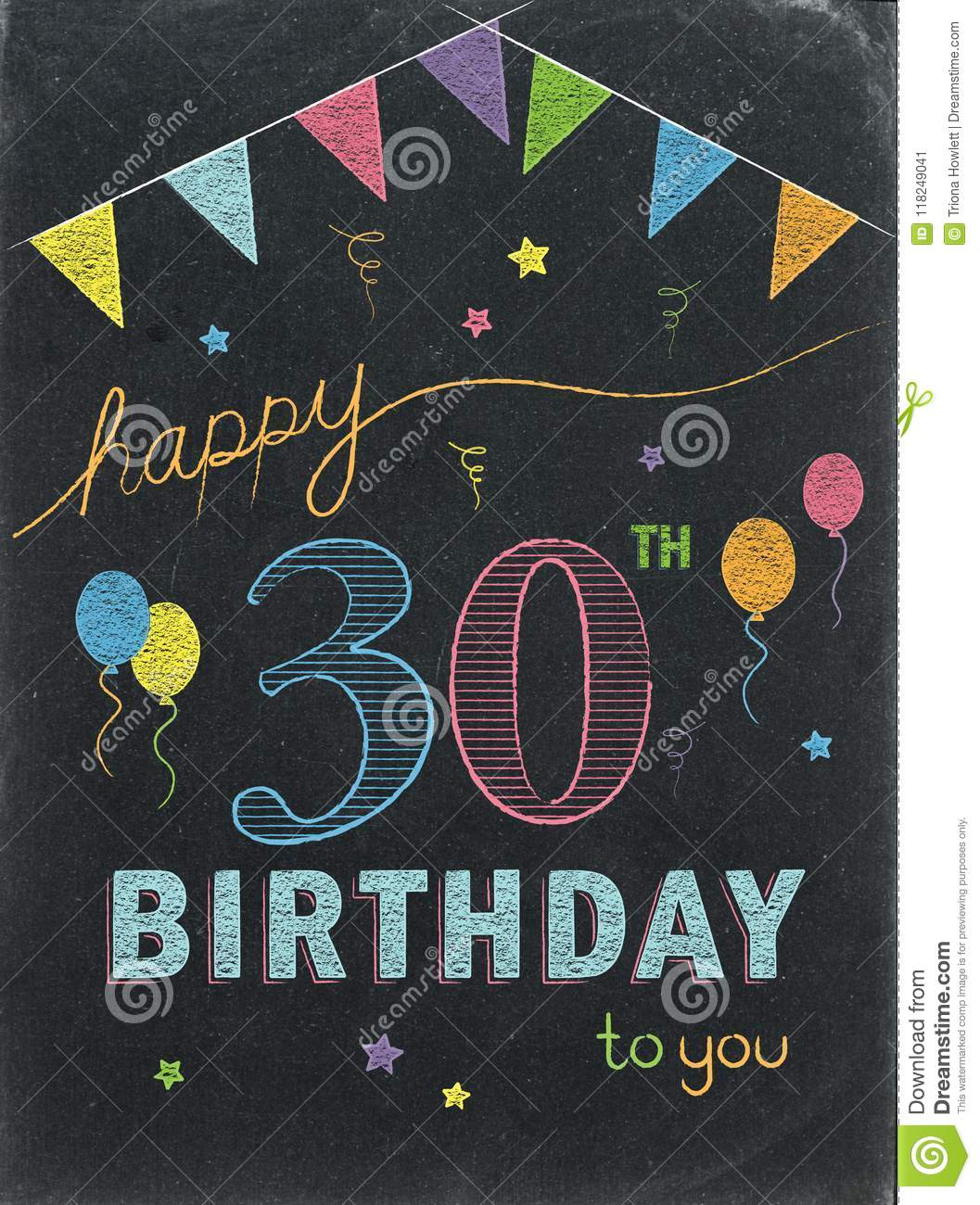 HAPPY 30th BIRTHDAY Color Chalk Lettering Card Stock Illustration