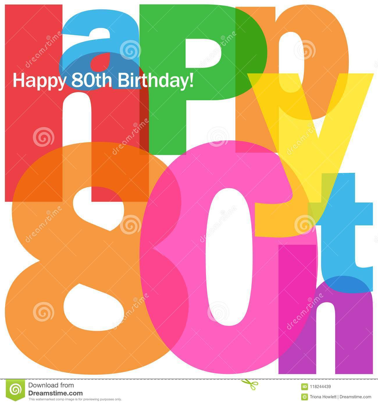 HAPPY 80th BIRTHDAY Colorful Letters Collage Card Stock Illustration ...