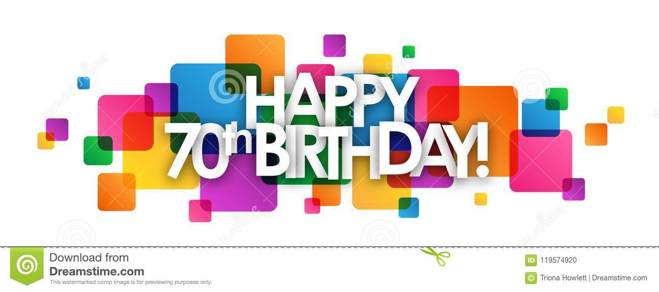 HAPPY 70th BIRTHDAY Colorful Overlapping Squares Banner