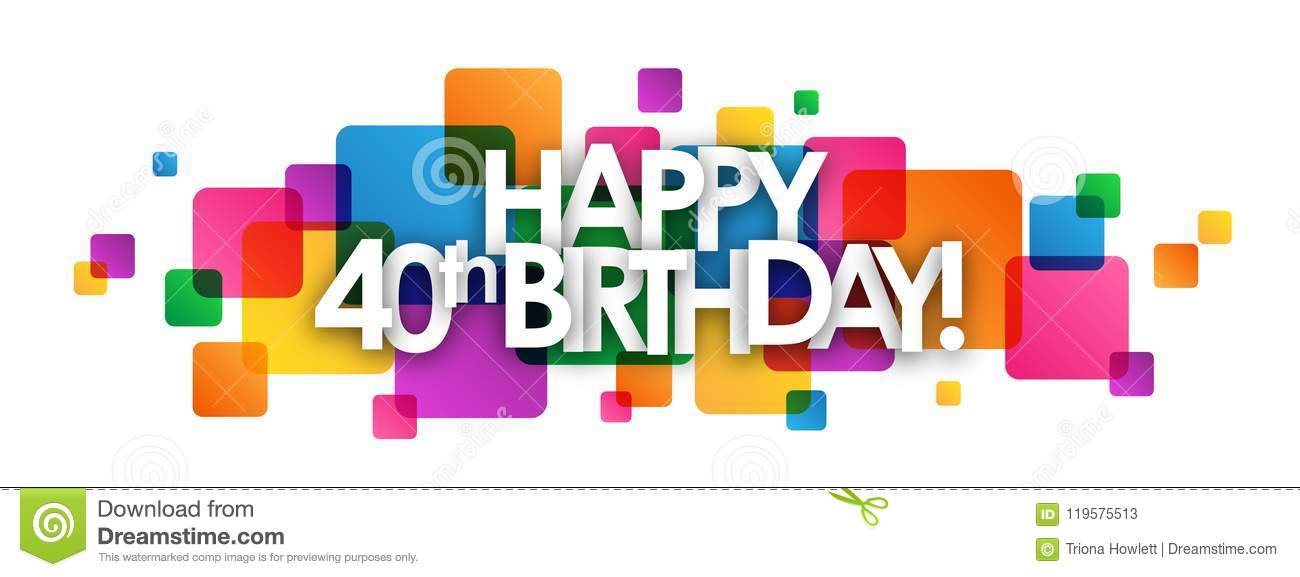HAPPY 40th BIRTHDAY! Colorful Overlapping Squares Banner Stock