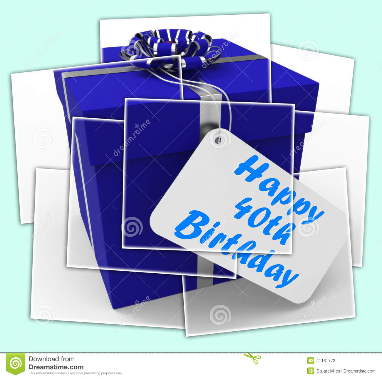 Happy 40th Birthday Gift Displays Age Forty Stock Illustration