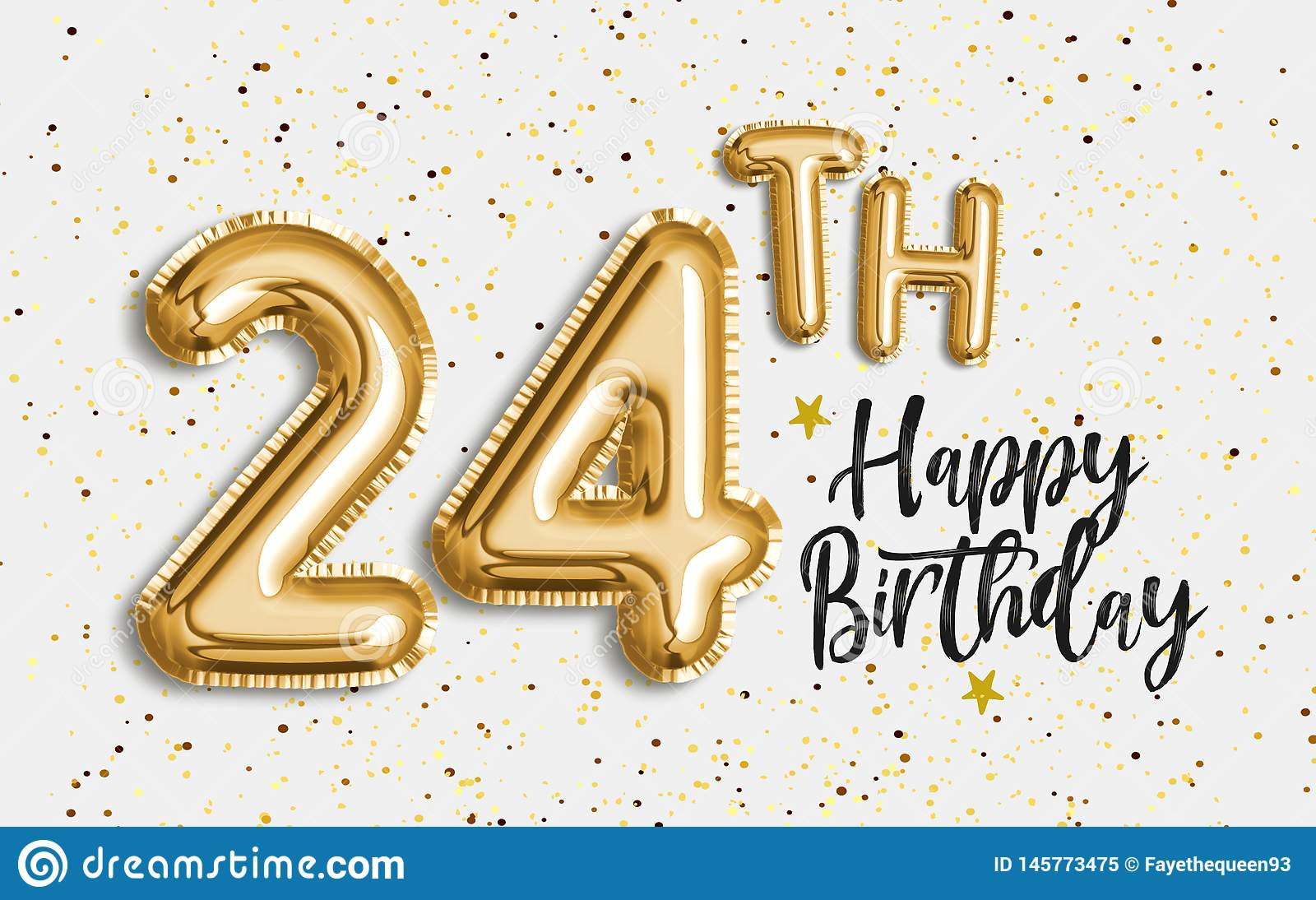 Happy 24th Birthday Gold Foil Balloon Greeting Background