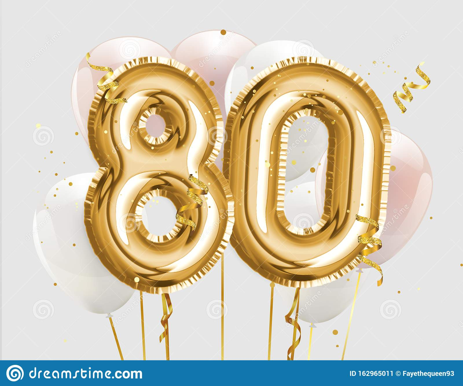 Happy 80th Birthday Gold Foil Balloon Greeting Background