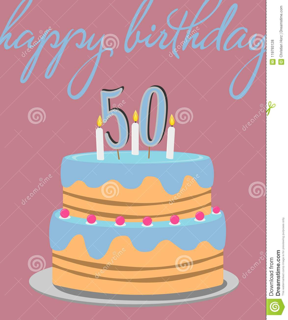Happy 50th birthday greeting card with birthday cake illustration download happy 50th birthday greeting card with birthday cake illustration stock vector illustration of celebration m4hsunfo