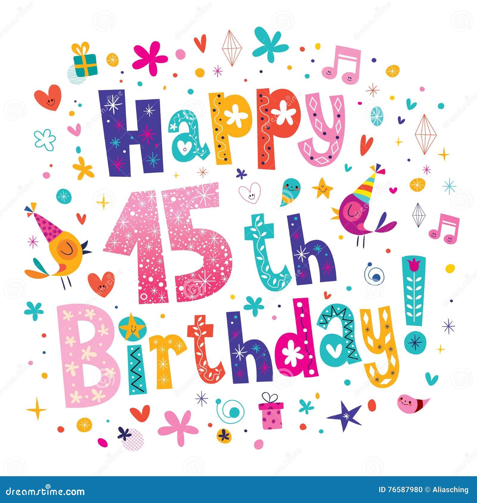 Happy 15th Birthday Greeting Card Vector Image 76587980 – 15th Birthday Card