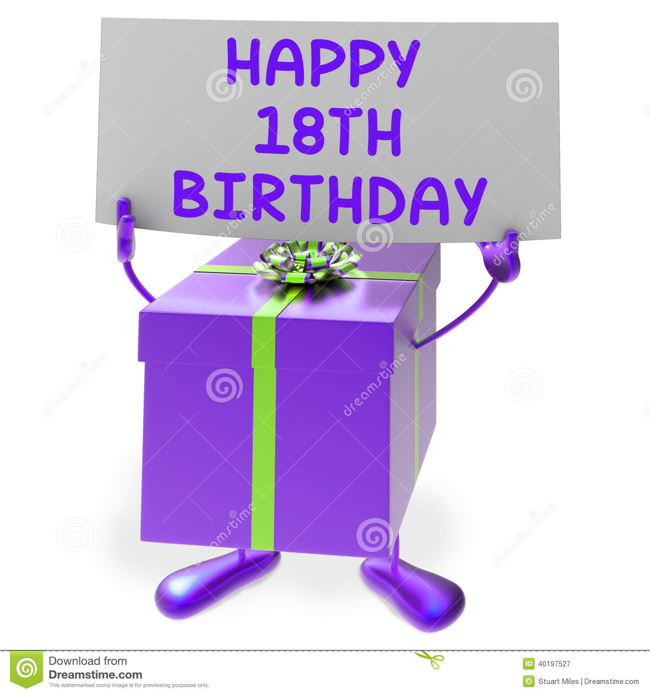 Happy 18th Birthday Sign And Gift Show Eighteenth Stock