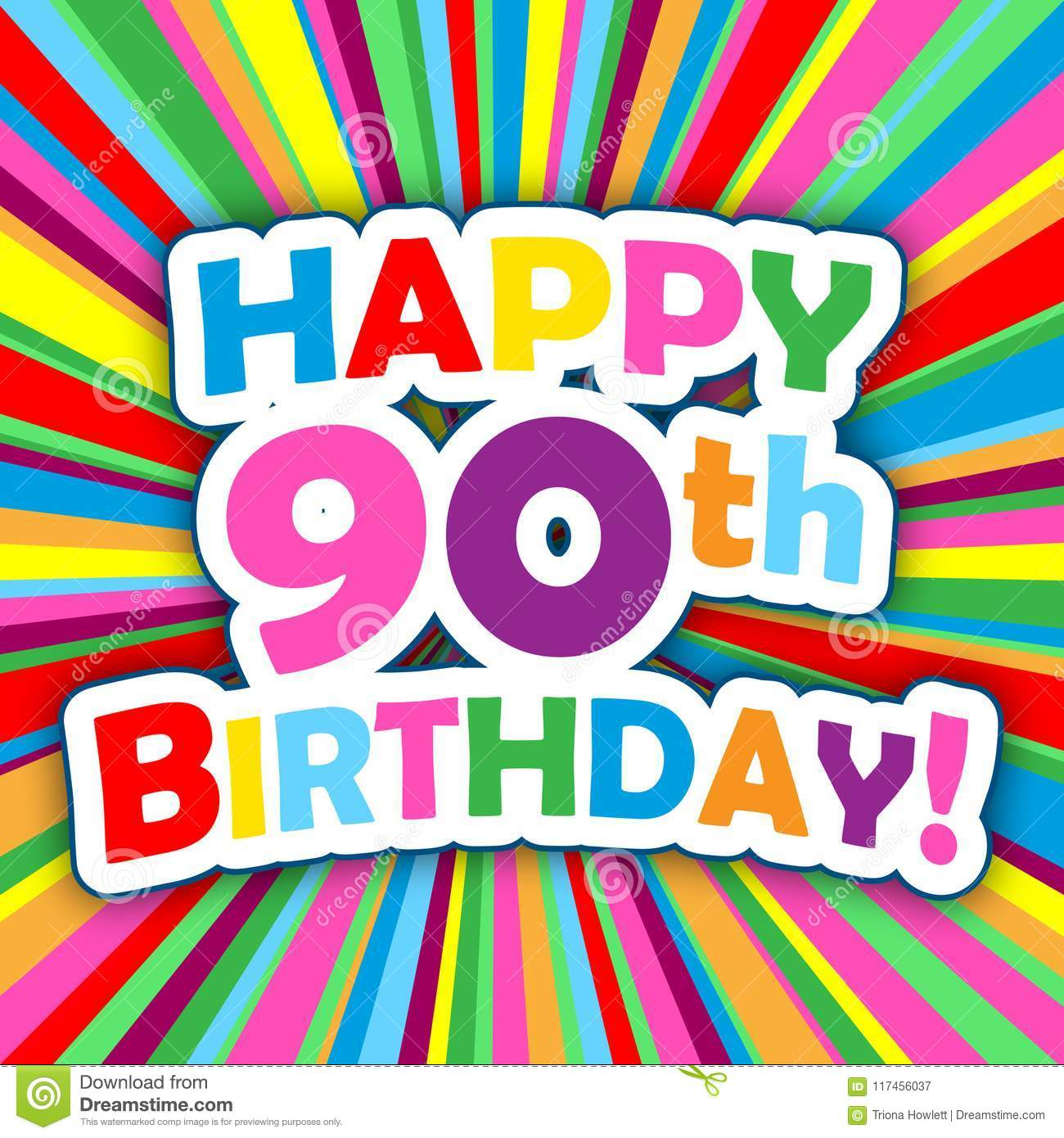 HAPPY 90th BIRTHDAY Card On Bright And Colorful Radial Background Vector Square Format