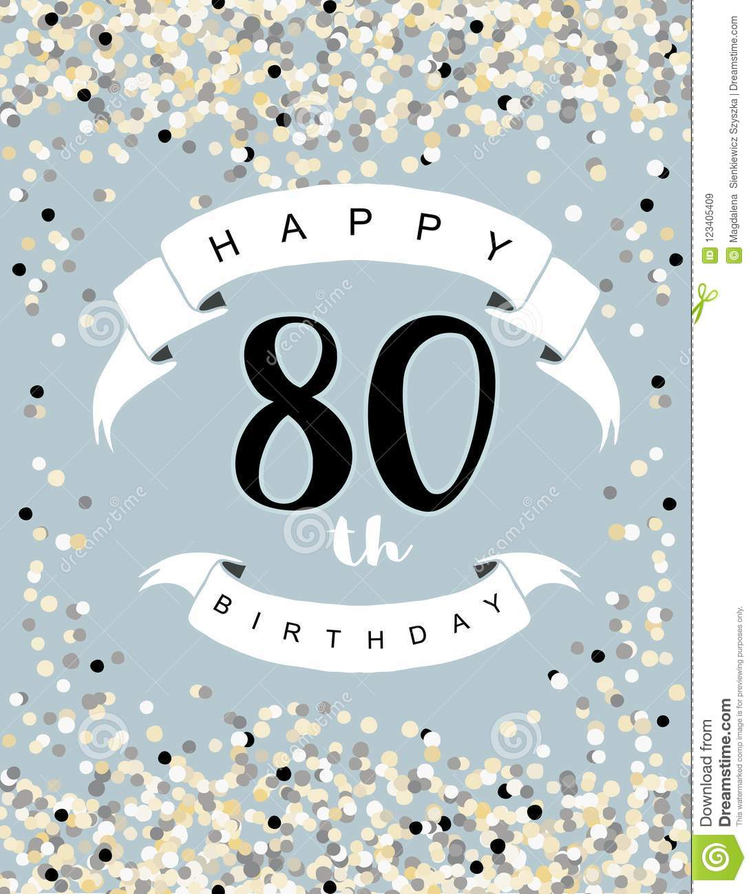 Happy 80th Birthday Vector Illustration Blue Background With Light Confetti White Ribbons And Black