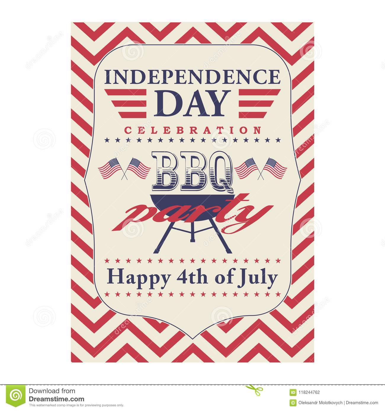 happy 4th of july bbq grill poster template for fourth of july bbq