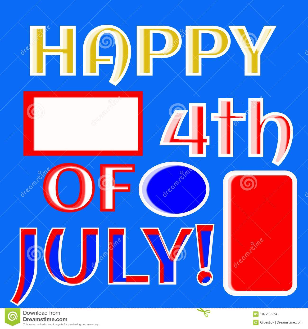 Happy Fourth Of July Illustration Vector Red White Blue Banner Stock