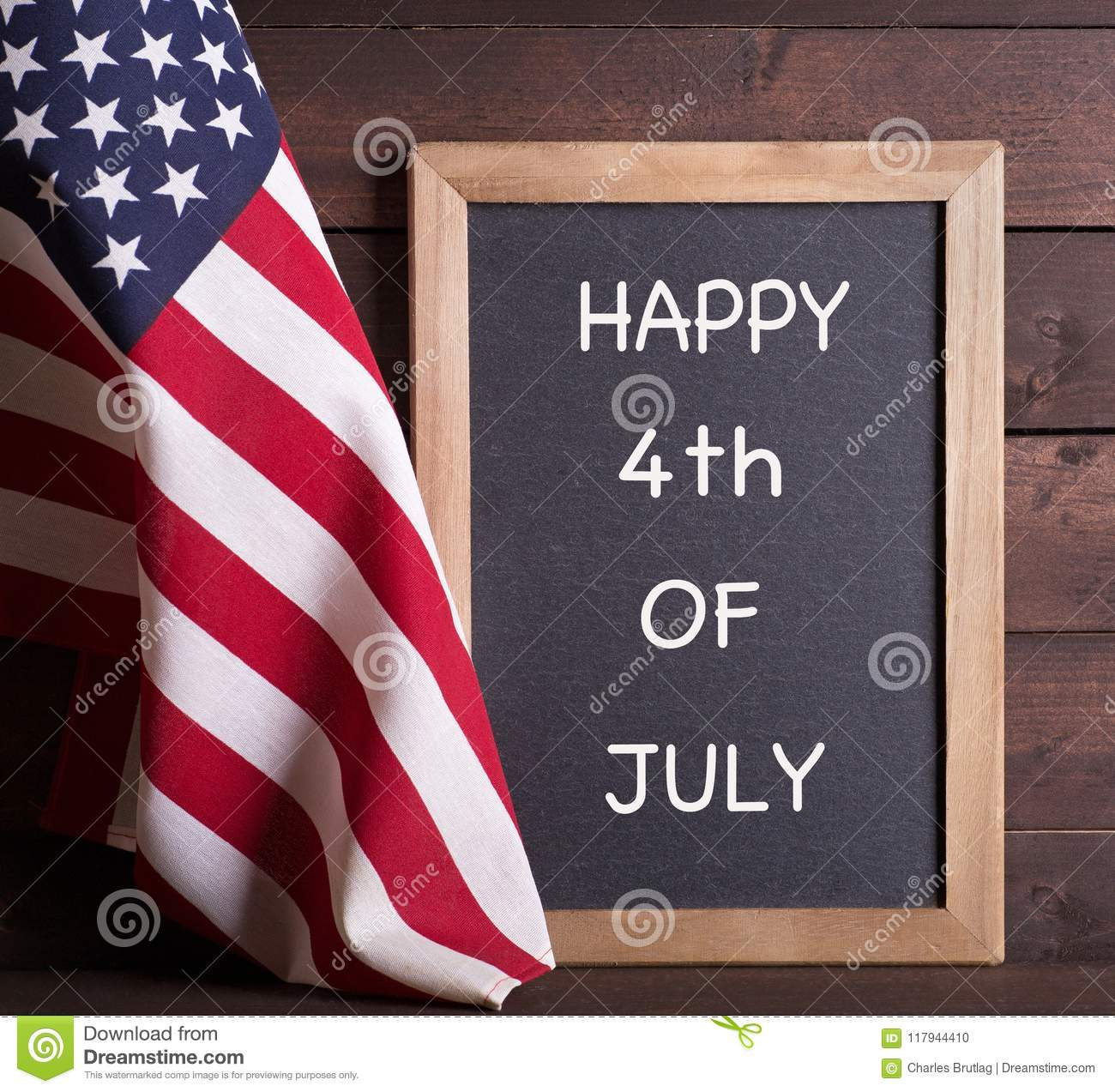 HAPPY 4th OF JULY Sign And The American Flag Stock Photo