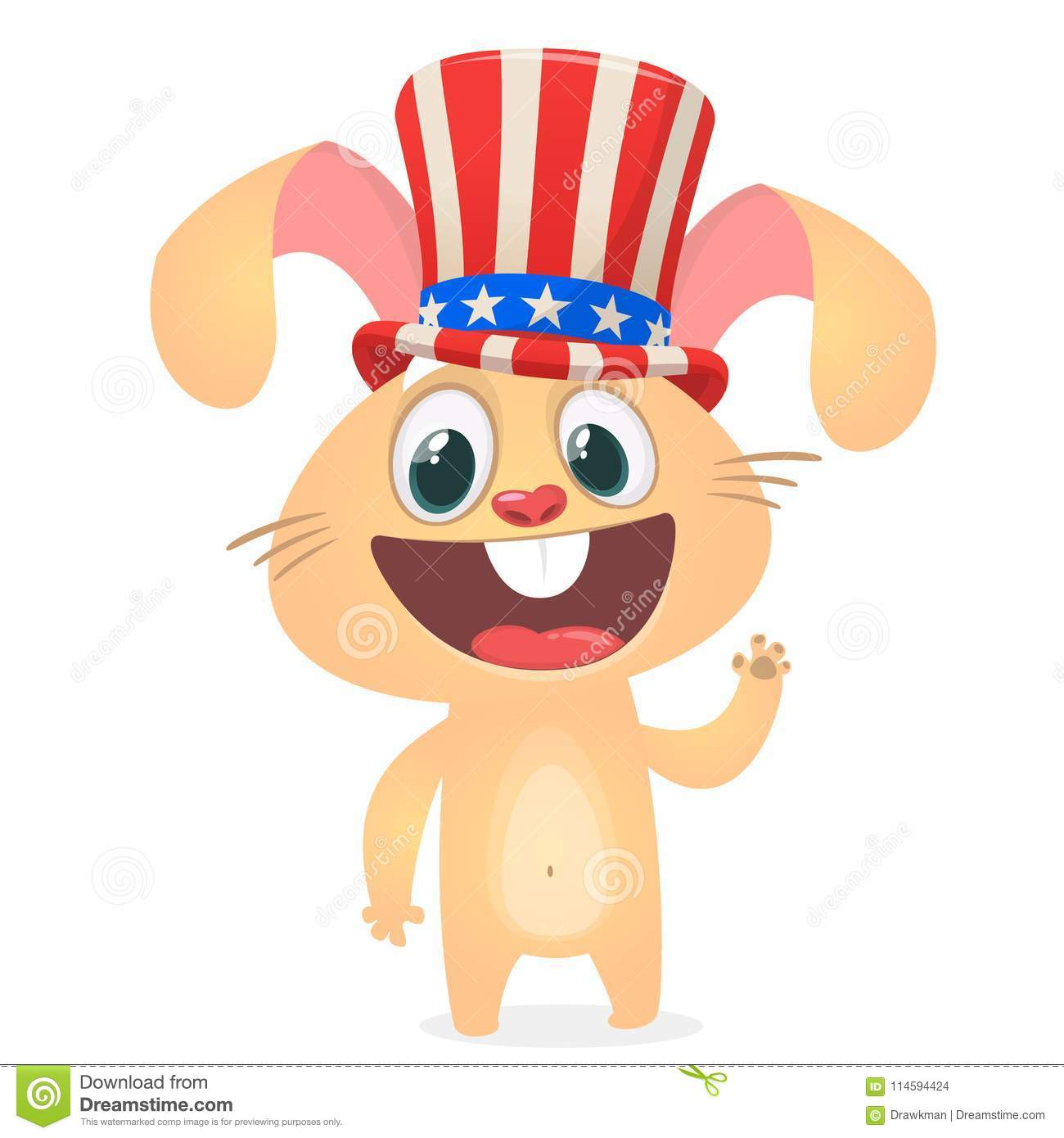 Happy 4th of July sticker card with cartoon rabbit. Vector illustration