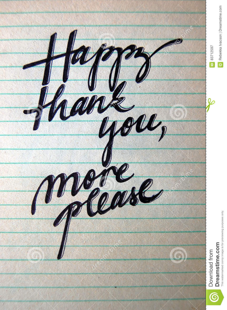 Happy Thank You More Please Calligraphic Background Stock Photo
