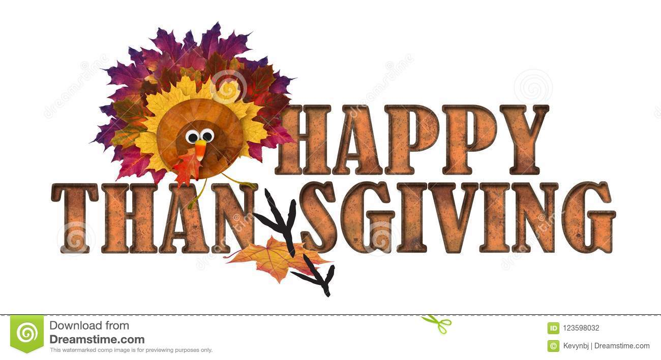 Happy Thanksgiving Art Logo with Autumn Leaves and Turkey Candy Corn Nose