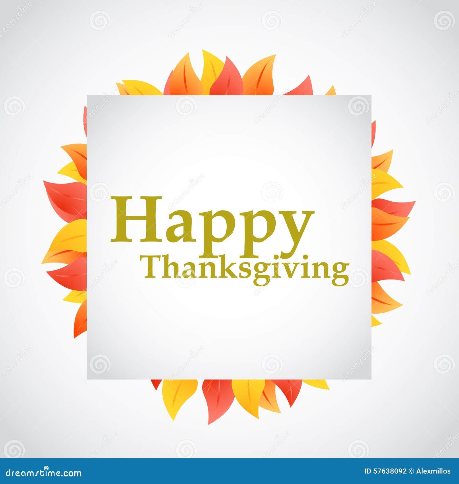 Happy Thanksgiving Autumn Leaves Sign Stock Illustration