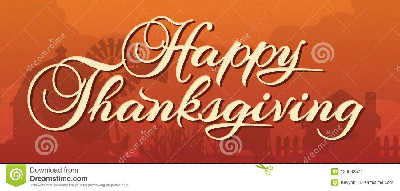 Happy Thanksgiving Banner with Farm Scene