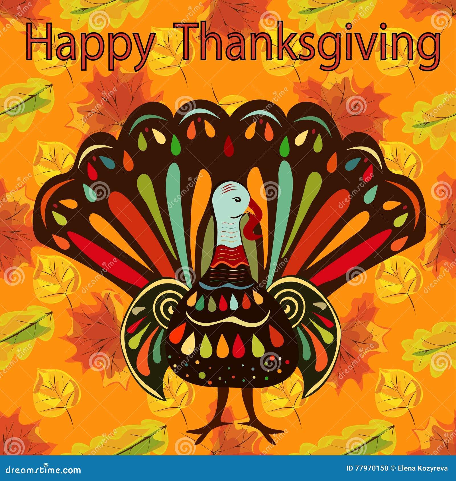 Happy Thanksgiving Beautiful Colorful Ethnic Turkey Bird ...