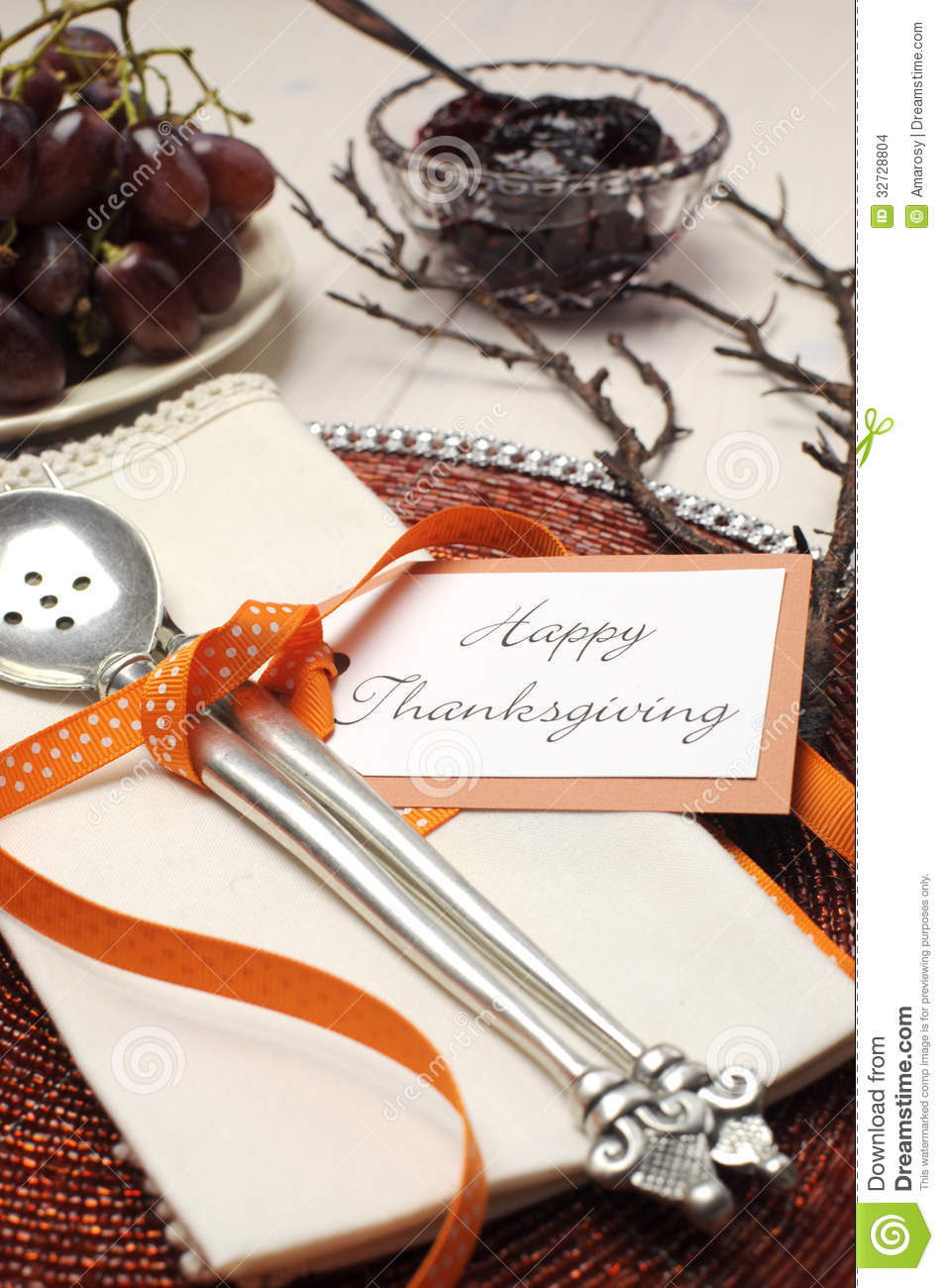 Happy Thanksgiving Beautiful Table Setting Close Up