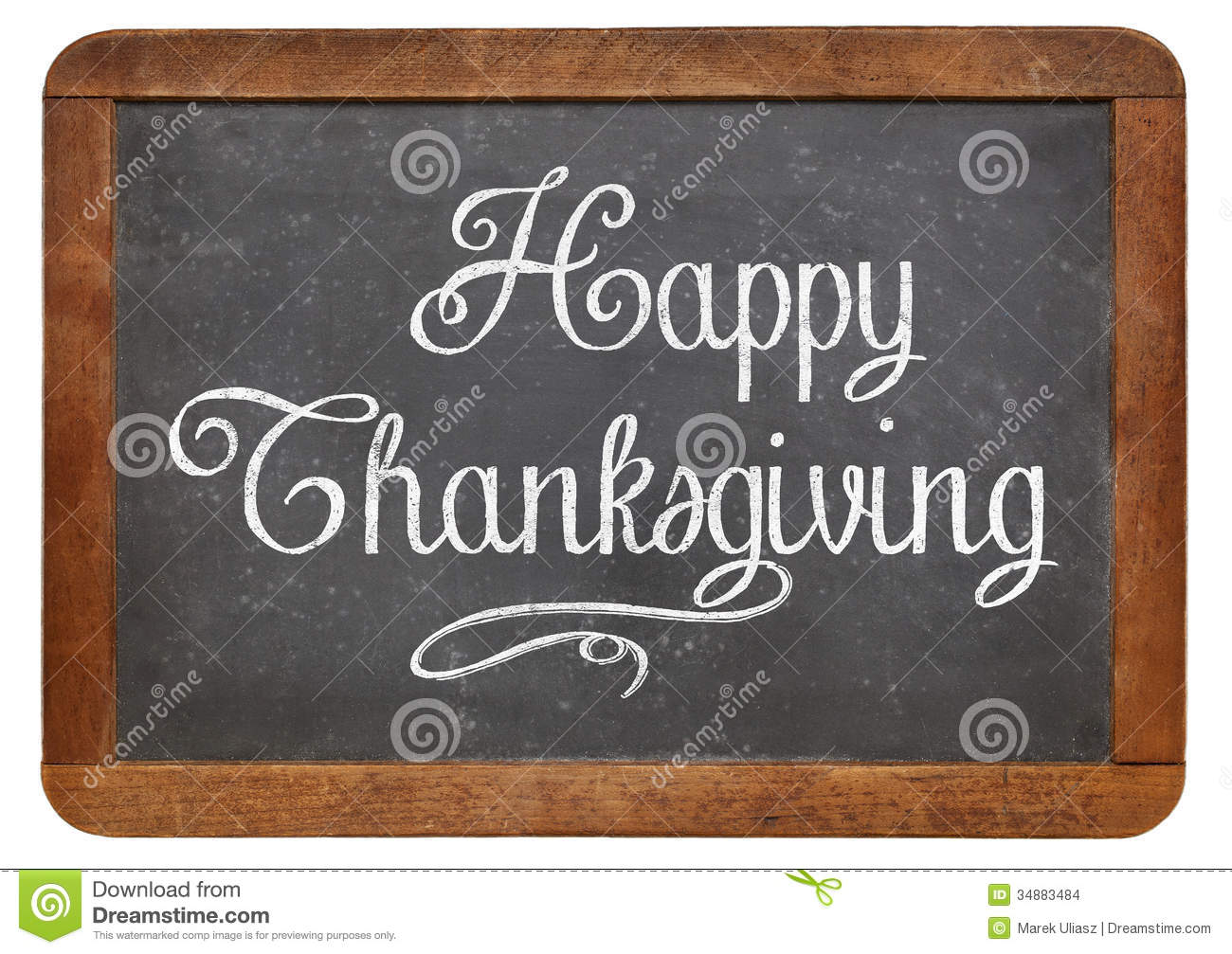 Happy Thanksgiving On Blackboard Stock Images Image