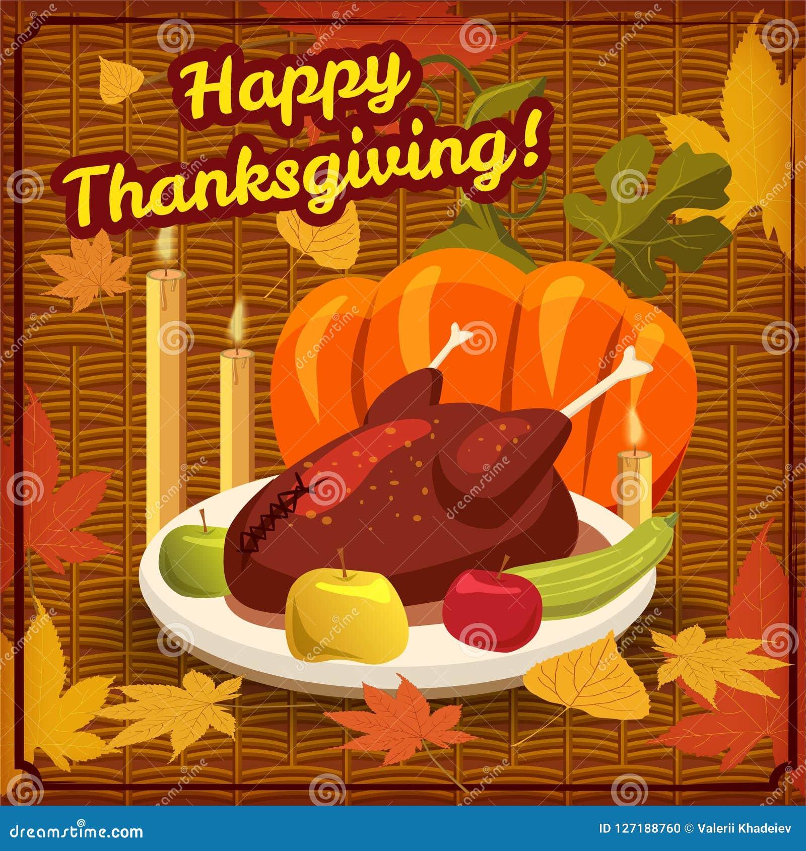 happy thanksgiving card festive dinner turkey pumpkin apples