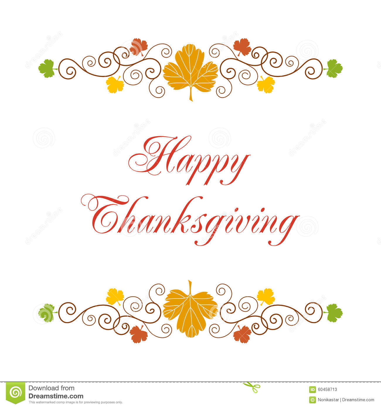 Happy Thanksgiving Card Stock Vector Illustration Of Curls 60458713