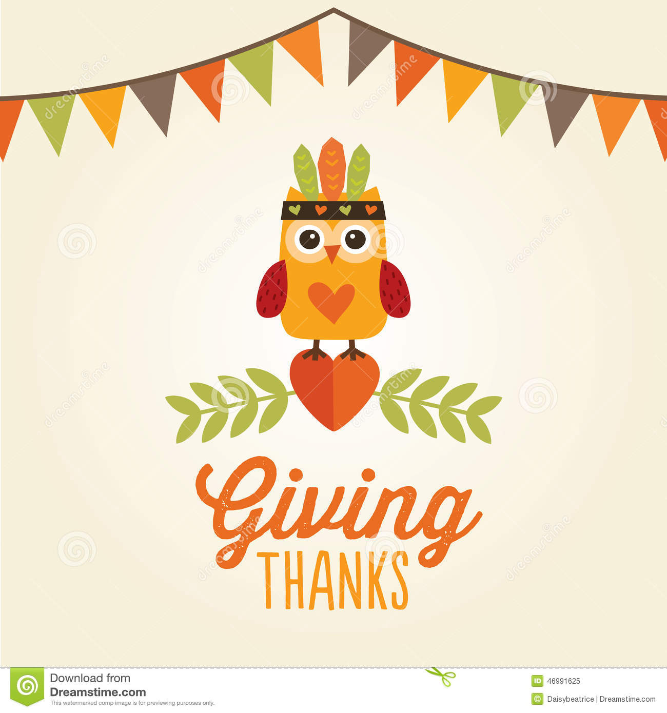 Happy Thanksgiving Card Owl Cute Costume Giving Thanks Stock Vector