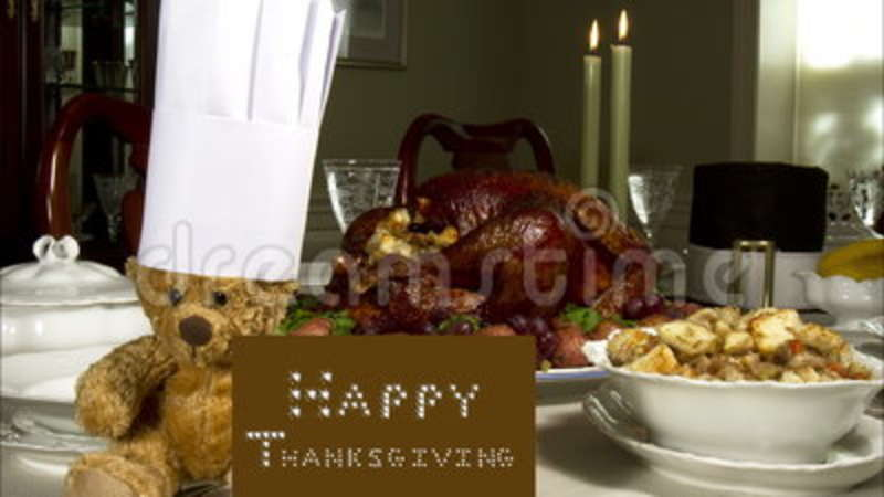 Teddy Laden thanksgiving with chef stock footage of dining