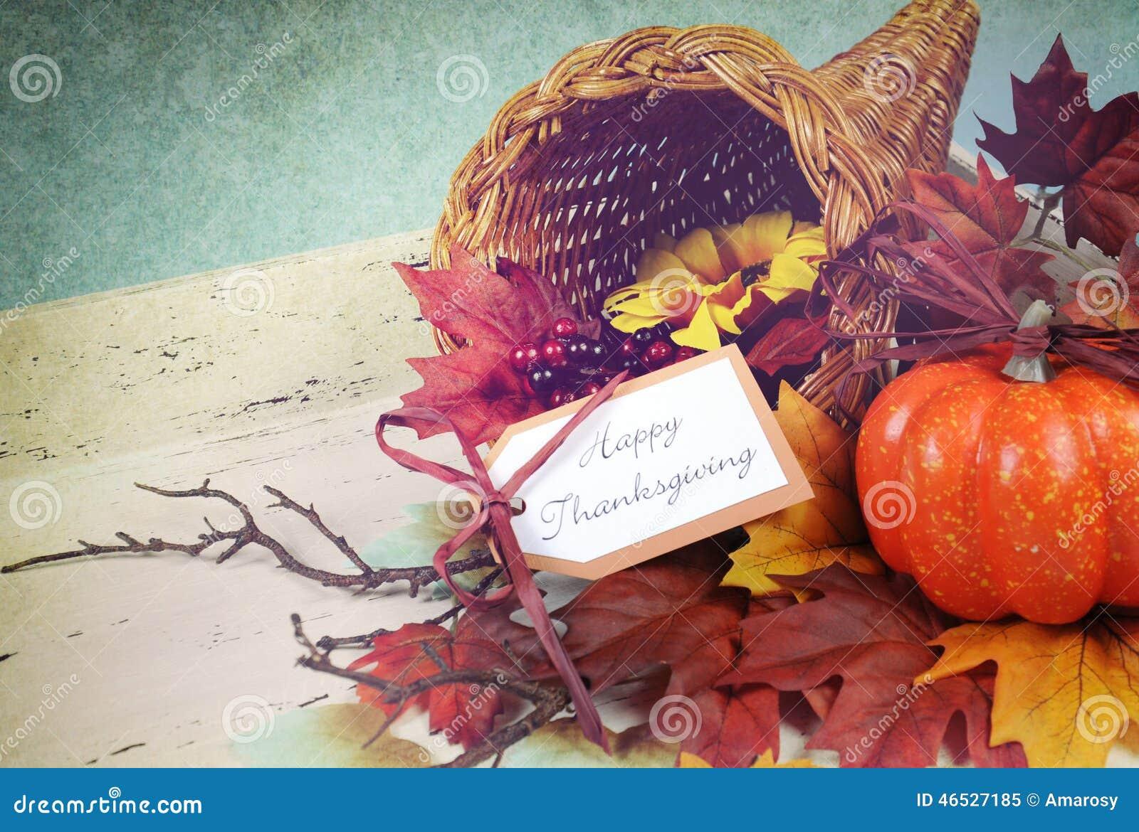 Happy Thanksgiving Cornucopia With Autumn Fall Leaves