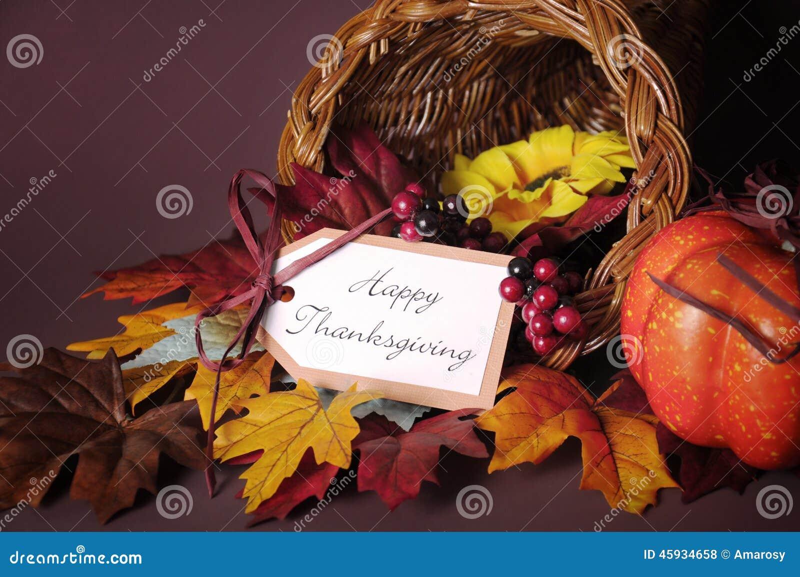 Happy Thanksgiving cornucopia wicker basket closeup
