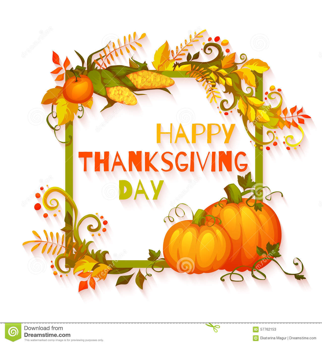 Happy Thanksgiving Day Banner With Flowers And Stock ...